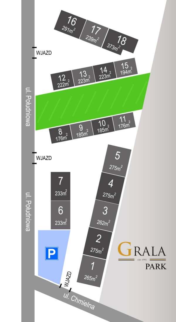 Grala Park - plan przestrzeni magazynowych do wynajęcia